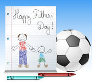 Fathers day kid drawing with ball and crayons Royalty Free Stock Photos