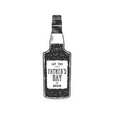 Fathers day label design. Rum bottle with sign - Let Fathers day begin. Funny holiday concept for celebrating day of. Father. Stock illustration isolated on Royalty Free Stock Photos