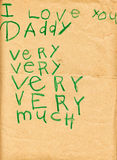 Fathers Day Love Note From Child on Old Paper Royalty Free Stock Photos