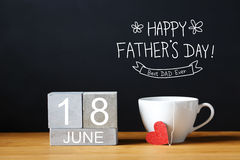 Fathers Day message with coffee cup stock image