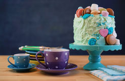 Fathers Day party table with cake and gifts. Royalty Free Stock Image