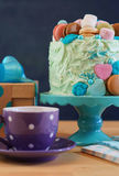 Fathers Day party table with cake and gifts. Stock Photo