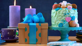 Fathers Day party table with cake and gifts. Stock Image