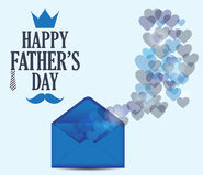 Fathers Day postcard with bokeh hearts on blue background. Vector illustration vector illustration