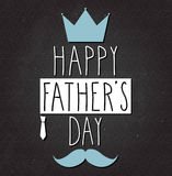 Fathers Day poster on black chalkboard. Handwritten text Stock Images
