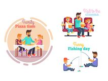 Fathers Day Poster with Dad and Children Vector Stock Image