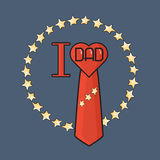 Fathers day poster. I love Dad. Heart, tie and star. Royalty Free Stock Photography