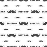 Fathers day seamless retro pattern, with mustache and typography elements - Best Dad. Can be used for wallpaper. Fathers day eamless retro pattern, with mustache Stock Photo