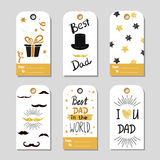 Fathers day set in gold and black. Collection of gift tags. Stock Images