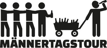 Fathers day tour with handcart and beer german. Vector royalty free illustration
