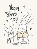 Father`s Day card with happy cute daddy and son. Funny animal flat cartoon illustration. Fathers day vector flat cartoon illustration card Stock Photography
