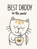 Happy Father`s Day vector card with cute cat dad. Cartoon flat animal father illustration. Fathers day vector flat cartoon illustration card Stock Image