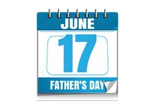 Fathers Day wall calendar 2018. Fathers Day 2018. Blue wall calendar. Fathers Day date in the calendar. 17 June. Wall calendar isolated on white background vector illustration