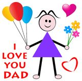 Fathers day wishes from daughter. Concept and i love you dad greeting card Royalty Free Stock Photography