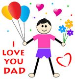 Fathers day wishes from son. Concept and i love you dad greeting card Royalty Free Stock Photo