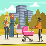 Fathers Parental Leave Orthogonal Background. Orthogonal background with fathers and infants at stroll in city park during parental leave vector illustration Stock Photography