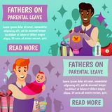 Fathers Parental Leave Orthogonal Banners. Set of horizontal orthogonal banners with happy fathers and baby during parental leave isolated vector illustration Stock Photos