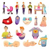 .Fathers  Parental Leave Orthogonal Icons. Fathers on parental leave orthogonal icons set with feeding carrying baby and newborn accessories isolated vector Stock Image