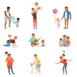 Fathers playing, having fun together and enjoying good quality time with their little children set of vector. Illustrations isolated on a white background Royalty Free Stock Photography