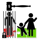 Fathers in Prison. Imprisonment of one parent entails the forcible separation of a child, who is suffering badly Stock Image
