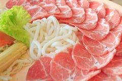 Carne de porco e udon Imagem de Stock Royalty Free