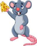 Fatia da exibição do rato dos desenhos animados de queijo ilustração stock