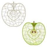 Fatia da maçã do mosaico Isolado fácil alterar Foto de Stock