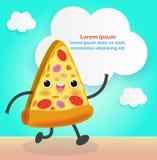 Fatia da pizza engra?ada FastFood Projeto do cartaz da pizza Personagem de banda desenhada da ilustra??o do vetor isolado no fund ilustração stock
