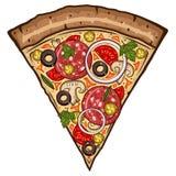 Fatia da pizza isolada no fundo branco Versão do vetor Foto de Stock Royalty Free