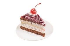 Fatia de bolo com cereja Imagens de Stock Royalty Free