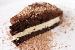 Fatia de bolo de chocolate Imagens de Stock