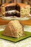 Fatia de bolo de chocolate com o bolo no fundo fotografia de stock royalty free