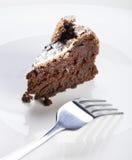 Fatia de bolo de chocolate flourless Imagem de Stock Royalty Free