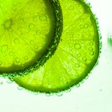 Fatia de cal com gotas da água Fotografia de Stock