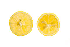 Fatia de limão fresco isolada no fundo branco foto de stock royalty free