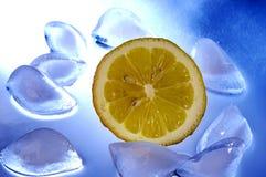 Fatia de limão no gelo Fotografia de Stock Royalty Free