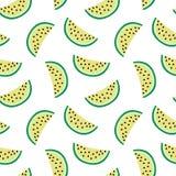 Fatia de melancia amarela em um verão branco do teste padrão do fundo ilustração do vetor
