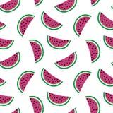 Fatia de melancia cor-de-rosa em um vetor sem emenda branco do doce de verão do teste padrão do fundo ilustração stock