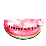 Fatia de melancia vermelha com sementes watercolor Foto de Stock Royalty Free