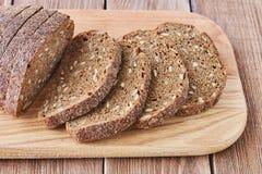 Fatia de pão de centeio com sementes Foto de Stock Royalty Free