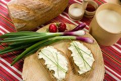 Fatia de pão espalhada com queijo dos carneiros Imagens de Stock Royalty Free