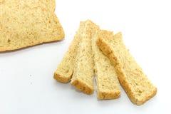 Fatia de pão no fundo branco Fotografia de Stock