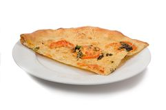 Fatia de pizza na placa branca Fotografia de Stock Royalty Free