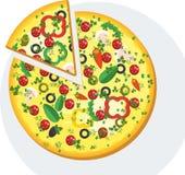 Fatia de pizza redonda com salsicha Imagens de Stock