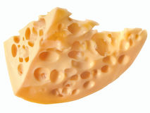 Fatia de queijo amarelo delicioso com os furos redondos isolados no wh Imagens de Stock Royalty Free