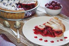 Fatia de torta do friut com cerejas e jamberries Fotos de Stock