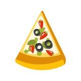 Fatia do ícone primitivo dos desenhos animados da pizza do vegetariano, parte da série do café da pizza de ilustrações de Clipart ilustração royalty free