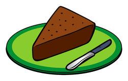 Fatia do bolo de chocolate Foto de Stock Royalty Free