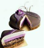 Fatia do bolo mergulhado de musse de chocolate com as flores da mola no fundo branco imagens de stock