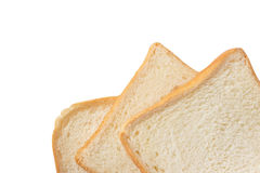 Fatia do pão branco isolada no branco Fotos de Stock